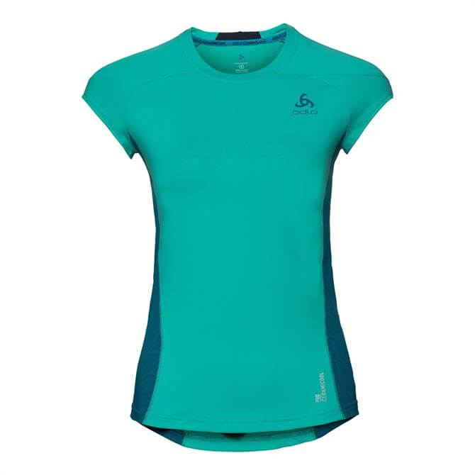 Odlo Women's Ceramicool Pro Short Sleeve T-Shirt- Pool Green
