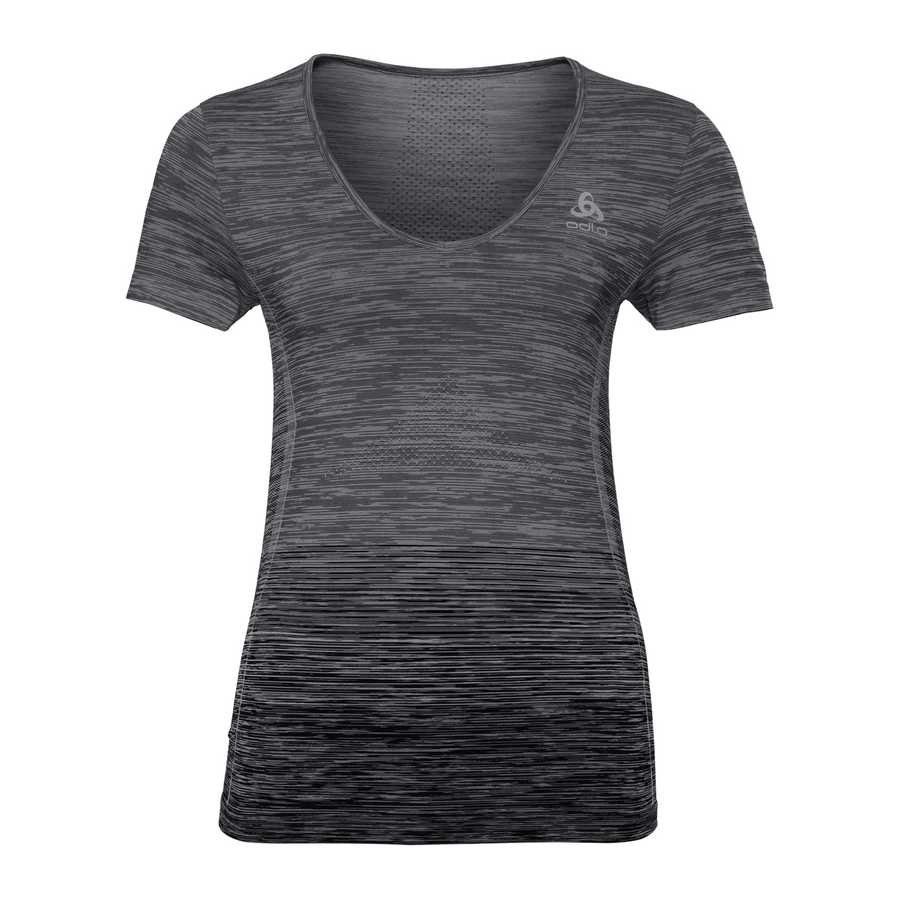 An image of Odlo Women's Maia Seamless Short Sleeve T-Shirt- Steel Grey - XS, STEEL GREY/B...