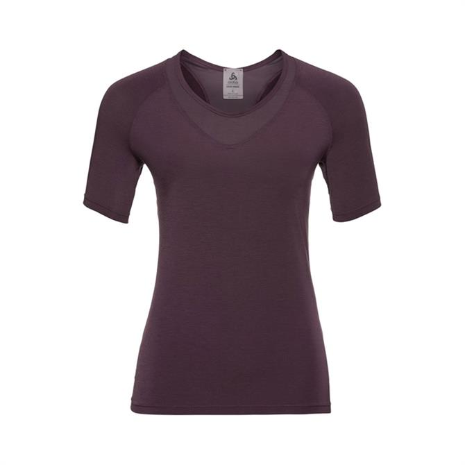 Odlo Women's Lou Mesh BL Short Sleeve Fitness Top - Plum