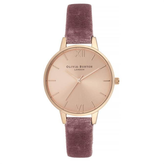 Olivia Burton Sunray Demi Dial Watch With Rose Velvet