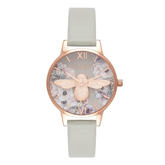 Olivia Burton Watercolour Florals Grey & Rose Gold Watch
