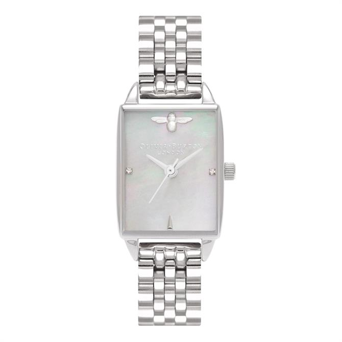 Olivia Burton Beehive Grey Mother of Pearl Silver Bracelet Watch