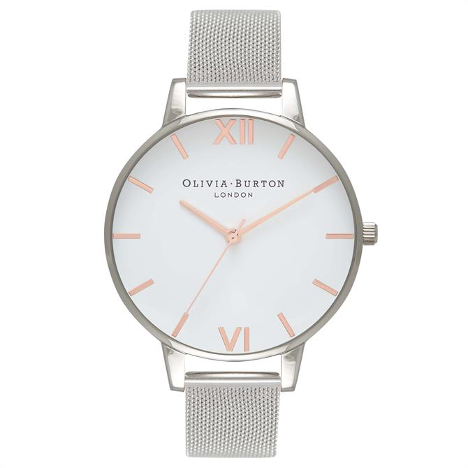 Olivia Burton White Dial Rose Gold & Silver Mesh Watch