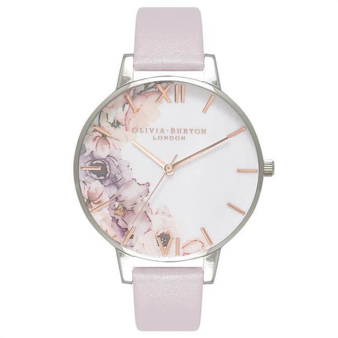 Olivia Burton Watercolour Florals Grey Lilac, Rose Gold & Silver Watch