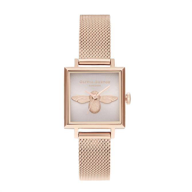 Olivia Burton 3D Bee Square Dial Blush Sunray & Pale Rose Gold Watch