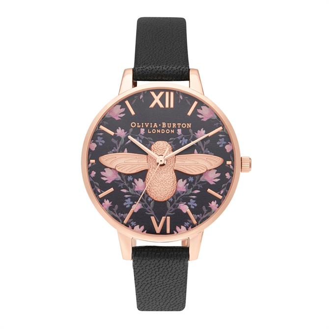 Olivia Burton Meant to Bee Demi Black & Rose Gold Watch