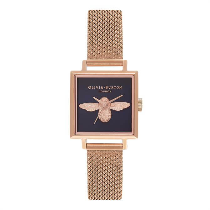 Olivia Burton Square Dial 3D Bee Midnight & Rose Gold Mesh Watch