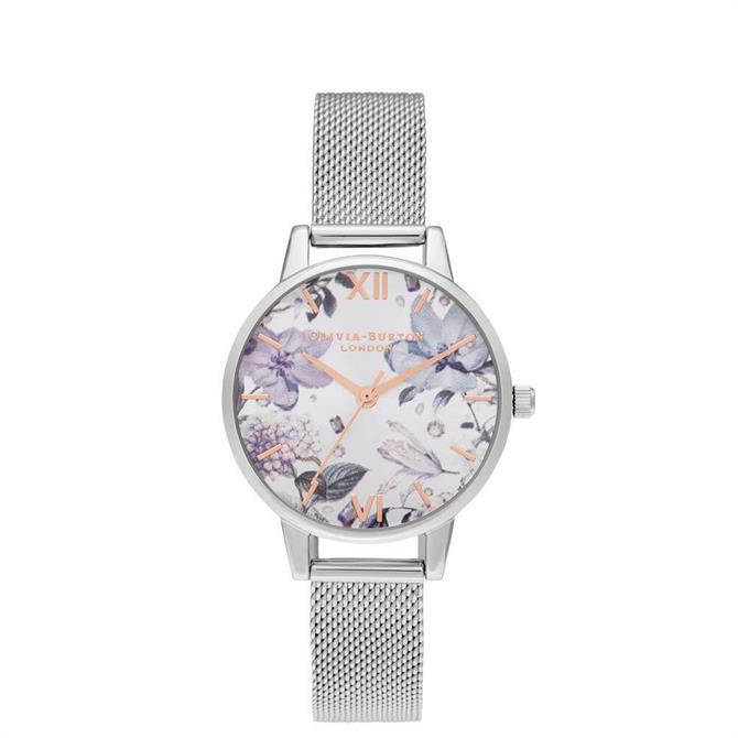 Olivia Burton Bejewelled Florals Midi Silver Mesh & Rose Gold Watch