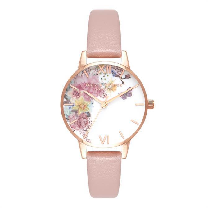 Olivia Burton Enchanted Garden Vegan Rose Sand & Rose Gold Watch