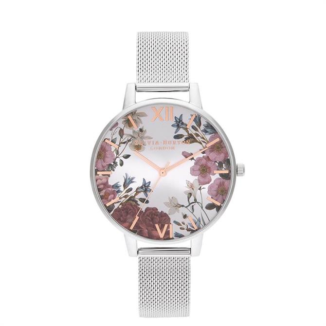 Olivia Burton British Blooms Rose Gold & Silver Mesh Watch