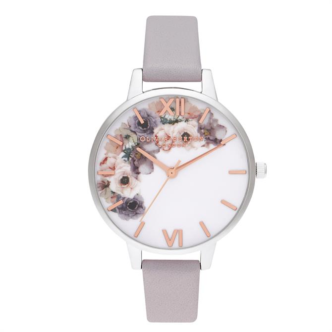 Olivia Burton Watercolour Floral Demi Grey Lilac Rose Gold & Silver Watch
