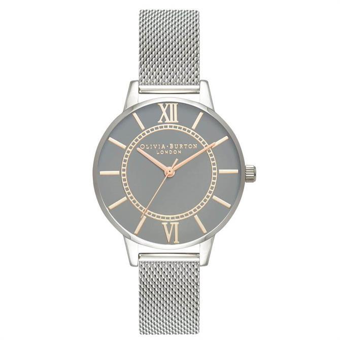 Olivia Burton Wonderland Grey Dial Pale Rose Gold & Silver Mesh Watch