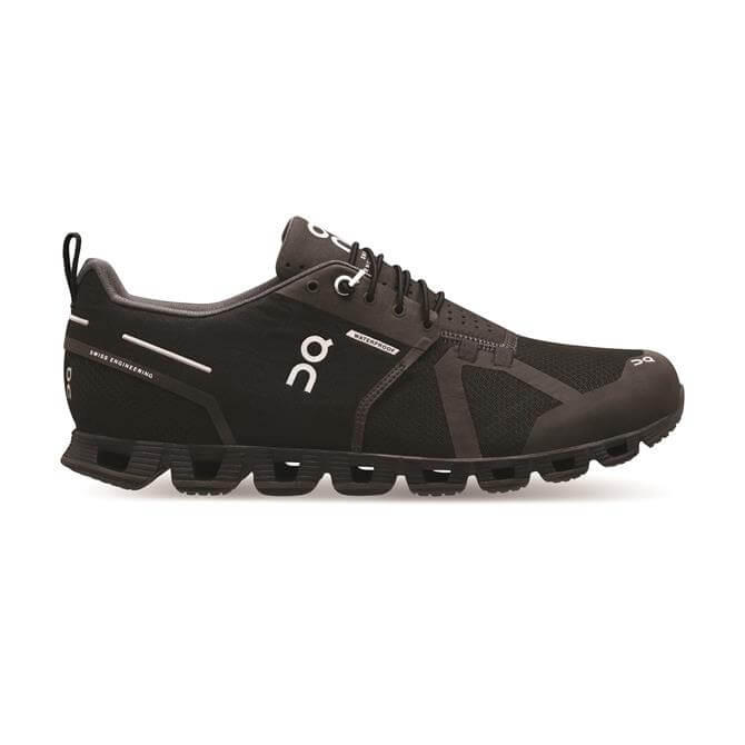 On Men's The Cloud Waterproof Running Shoes- Black