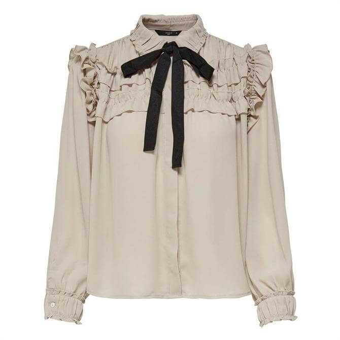 Only Bow Front Frill Long Sleeved Shirt