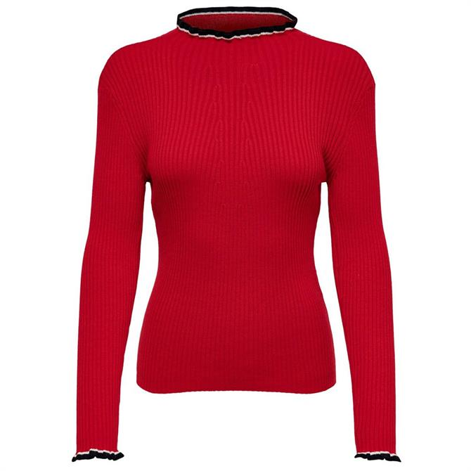 Only Knitted Frill Trim Skinny Rib Sweater