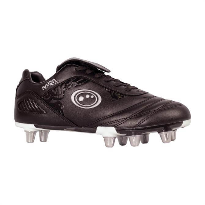 Optimum Junior Razor Rugby Boots- Black/Silver