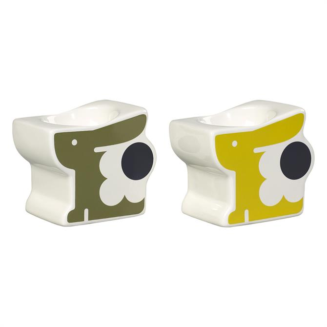 Orla Kiely Bonnie Bunny Set Of 2 Egg Cups: Seagrass And Sunshine