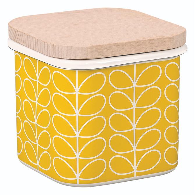 Oral Kiely Linear Stem Enamel Storage Jar: Dandelion Yellow