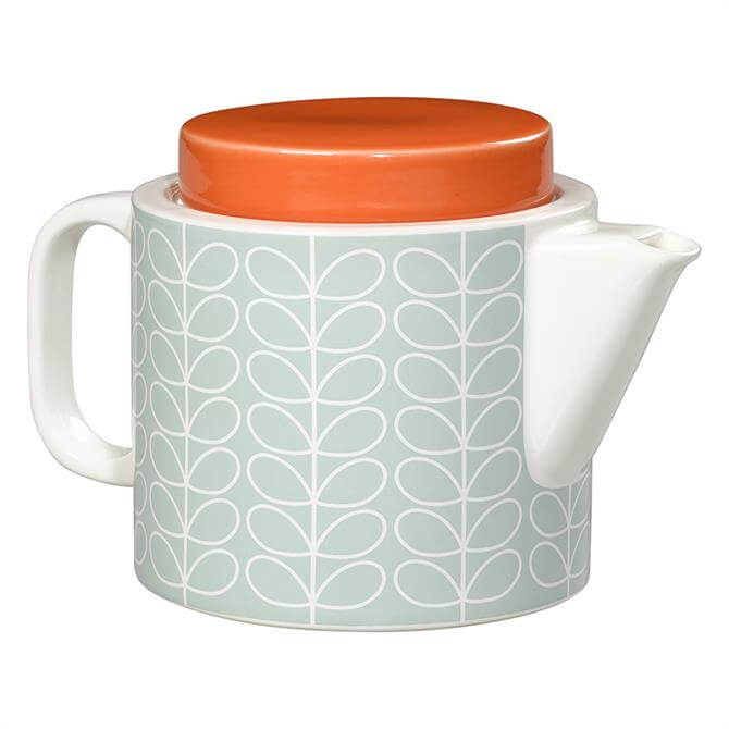 Orla Kiely Linear Stem Teapot: Duck Egg Blue