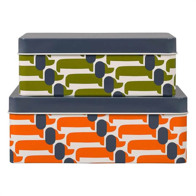 Orla Kiely Dachshund Set of 2 Storage Tins