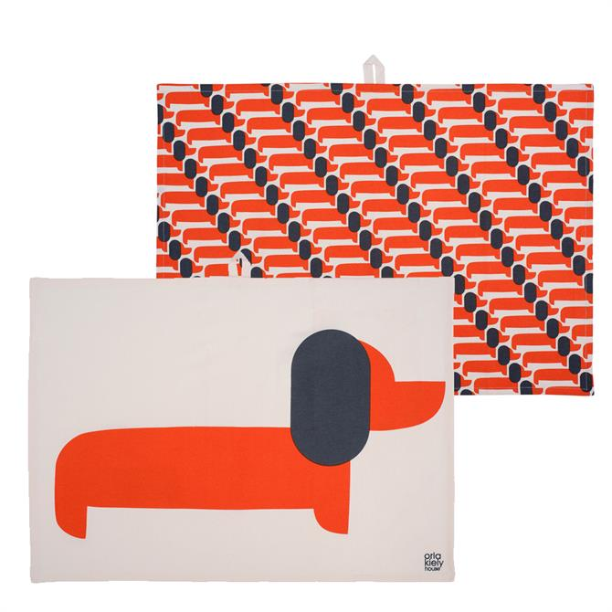 Orla Kiely Set of 2 Dachshund Tea Towel