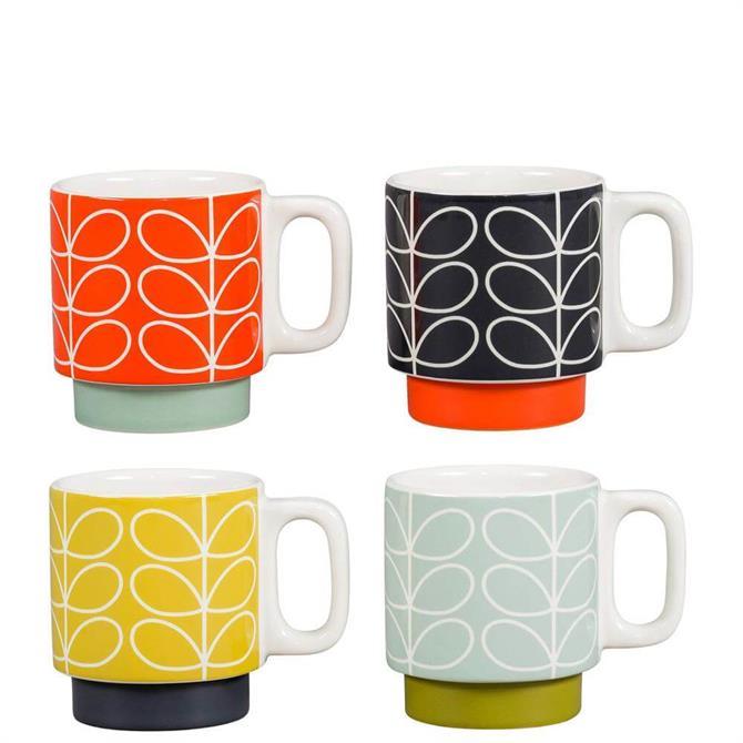 Orla Kiely Linear Stem Set of 4 Stacking Espresso Mugs