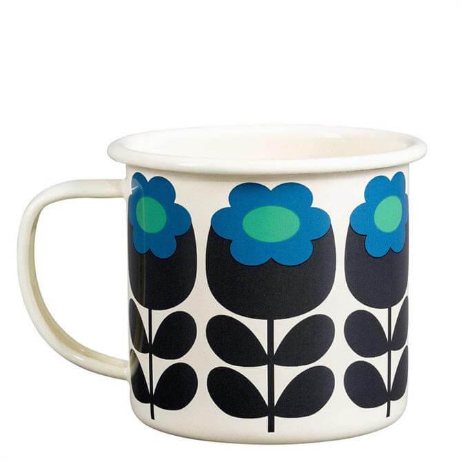 Orla Kiely Primrose Emerald Enamel Mug