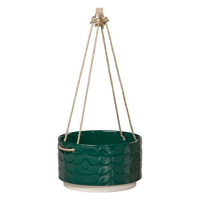 Orla Kiely Large Ceramic Hanging Pot 60s Stem Evergreen