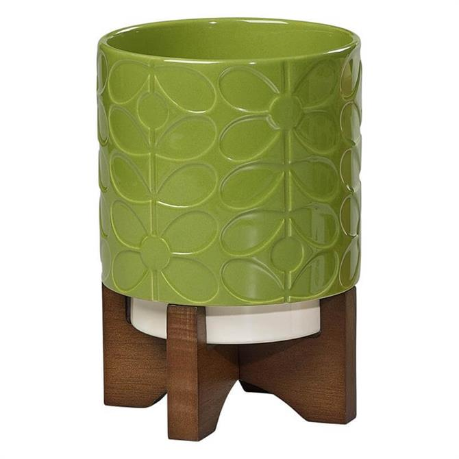 Orla Kiely Ceramic Plant Pot with Stand in 60s Stem Leaf