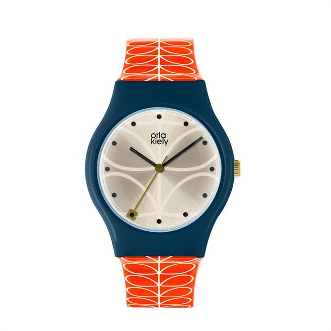 Orla Kiely Cream & Orange Bobby Watch