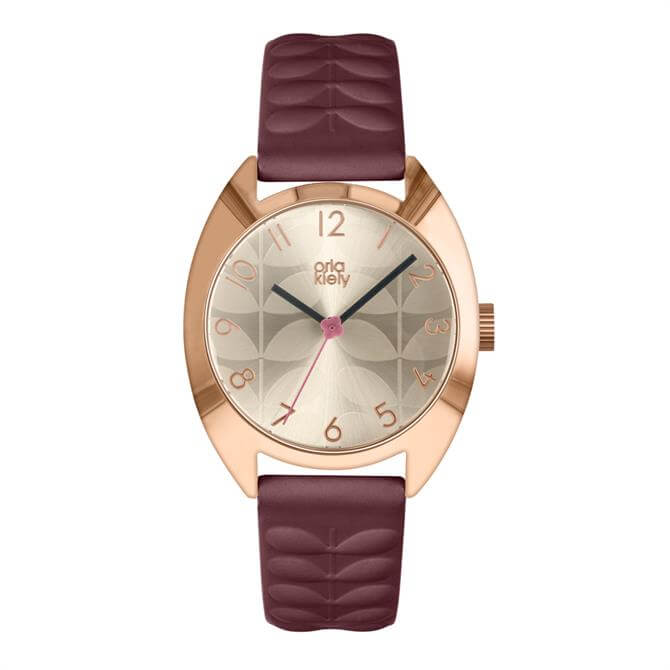 Orla Kiely Beatrice Watch with Rose Gold Case and Plum Leather Strap