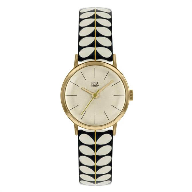 Orla Kiely Patricia Watch with Gold Case and Dark Cream Stem Print Leather Strap
