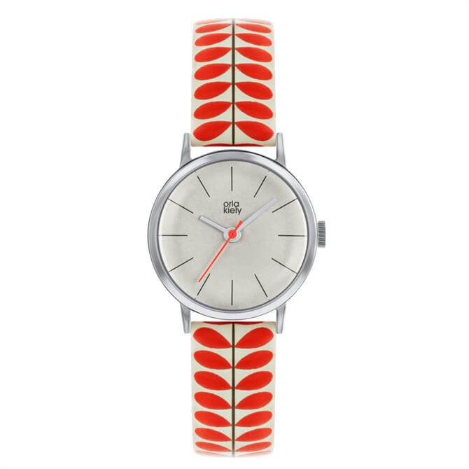 Orla Kiely Patricia Watch with Silver Case and Red Stem Print Leather Strap