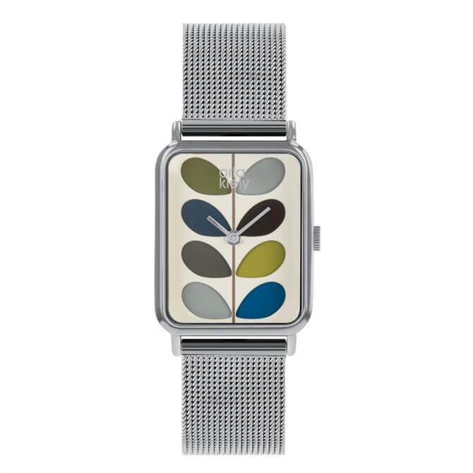 Orla Kiely Stem Watch with Polished Silver Case and Mesh Bracelet Strap