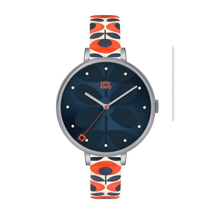 Orla Kiely Ivy Navy Stem Print Dial Watch