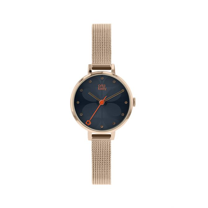 Orla Kiely Rose Gold & Blue Ivy Mesh Watch