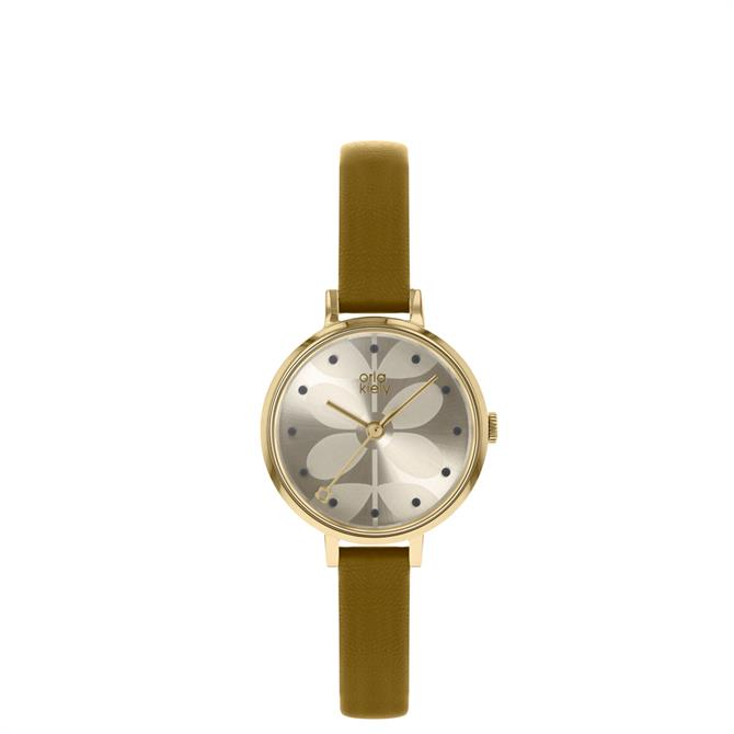 Orla Kiely Ivy Watch with Pale Olive Strap