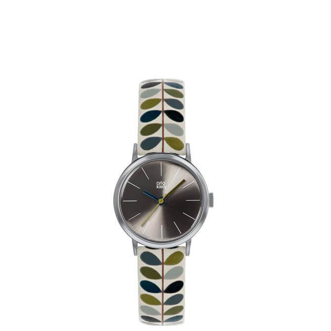 Orla Kiely Patricia Silver Watch with Stem Print Strap