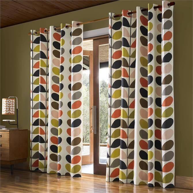 Orla Kiely Multi Stem Lined Eyelet Curtains