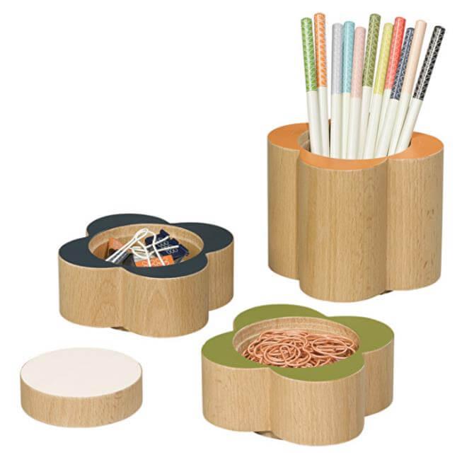 Orla Kiely Wooden Flower Desk Set