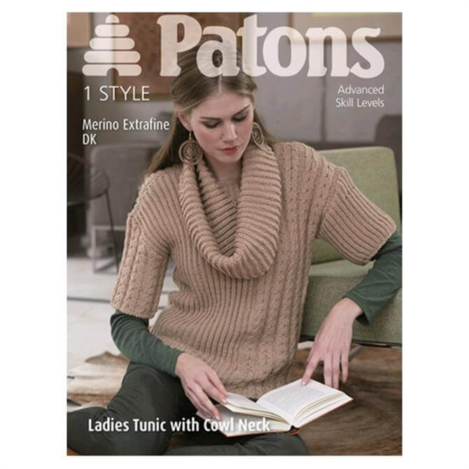 Coats Patons Ladies Tunic Top With Cowl Neck 3953
