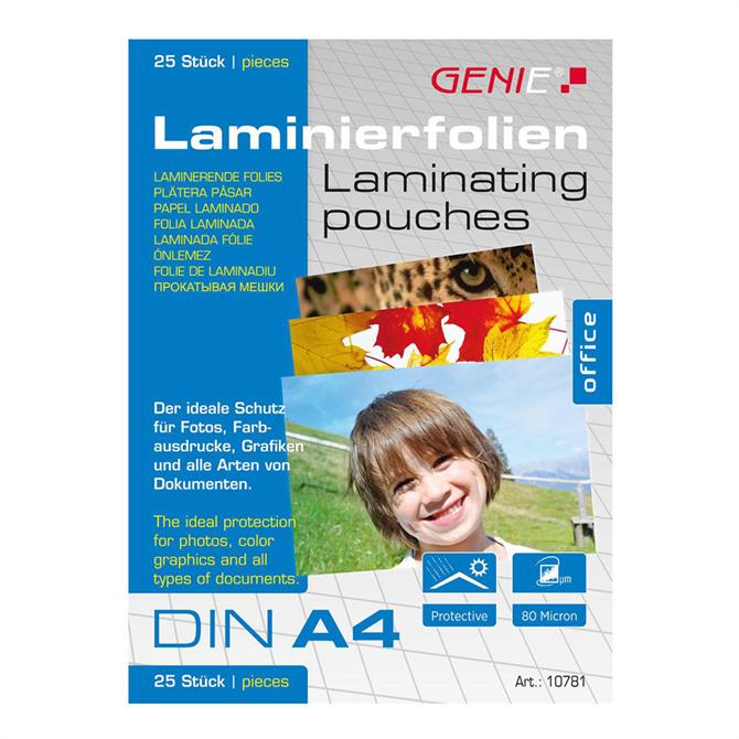 Genie A4 Laminating Pouches 25 Pack
