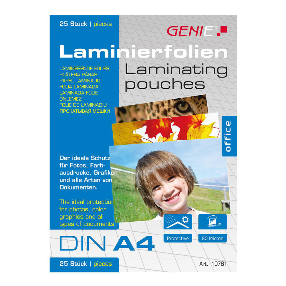 An image of Genie A4 Laminating Pouches 25 Pack