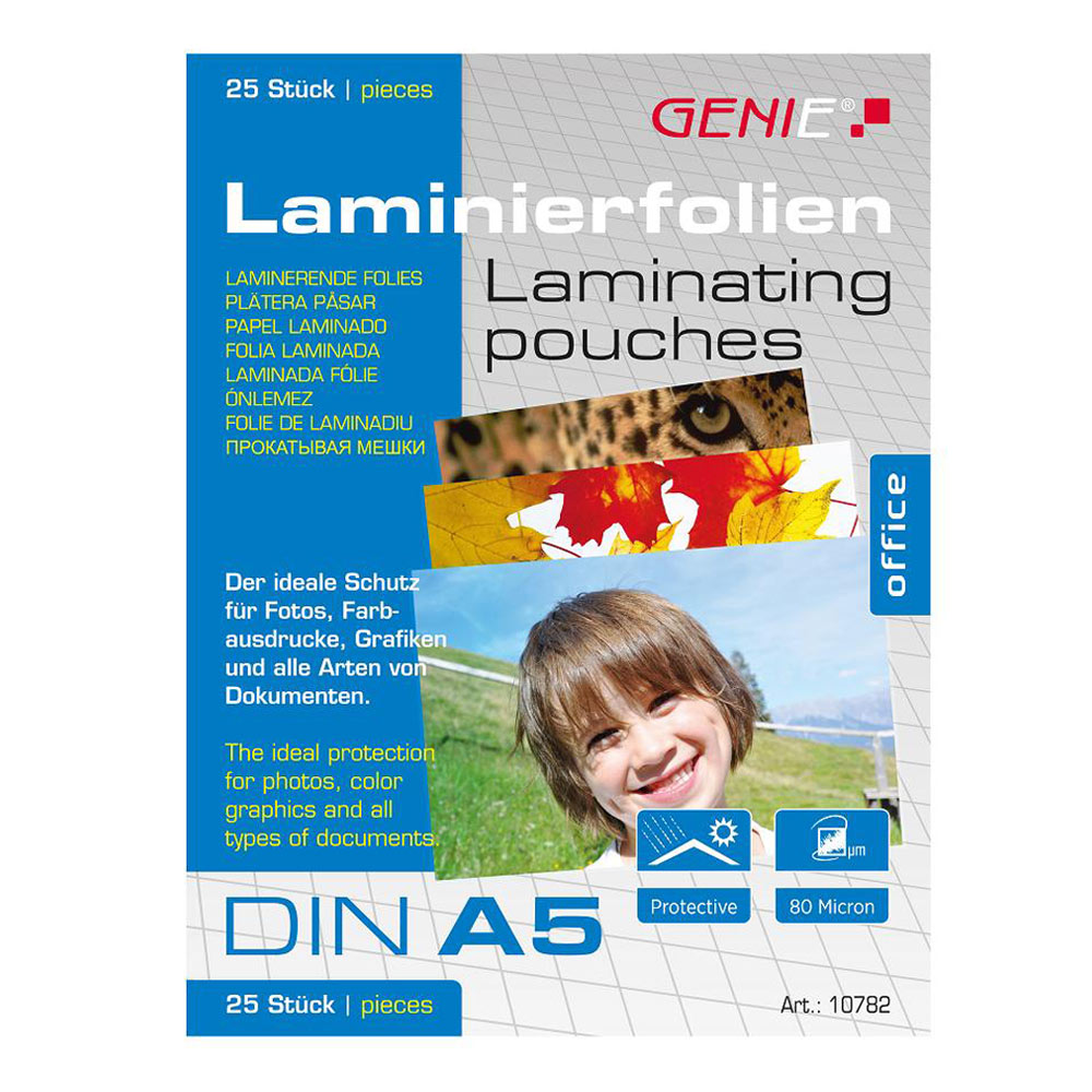 An image of Genie A5 Laminating Pouches 25 Pack
