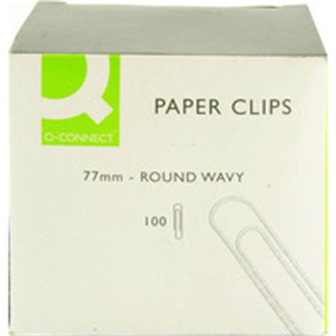 Q-Connect 77mm Round Wavy Paper Clip 100 Pack