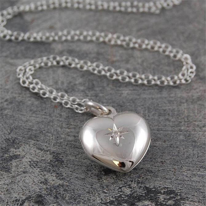 Otis Jaxon Silver Heart Locket with White Topaz