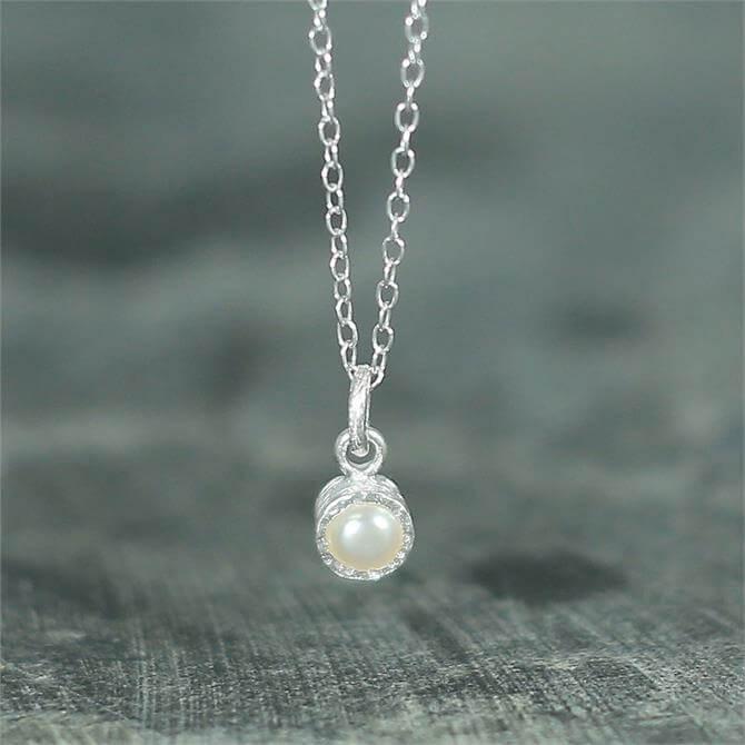 Otis Jaxon Textured White Silver Pearl Necklace
