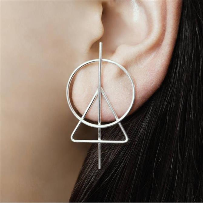 Otis Jaxon Triangle Silver Geometric Stud Earrings