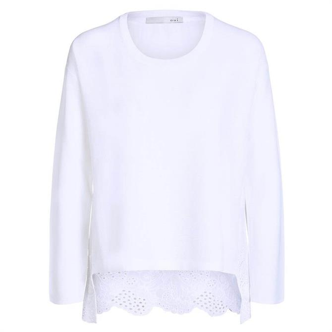Oui Lace Embroidery Fine Knit Jumper