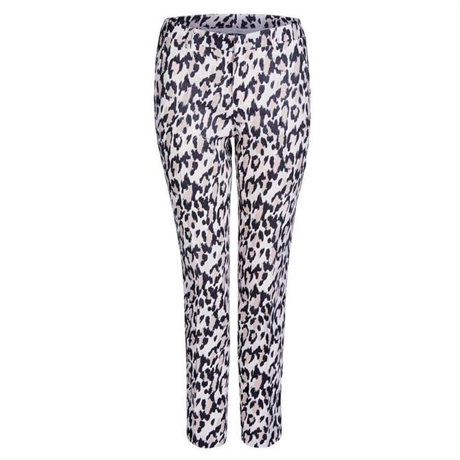 Oui Leopard Linen Trousers